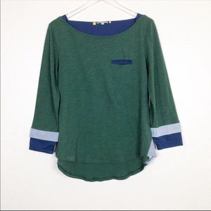 Anthro   little yellow button green boatneck top